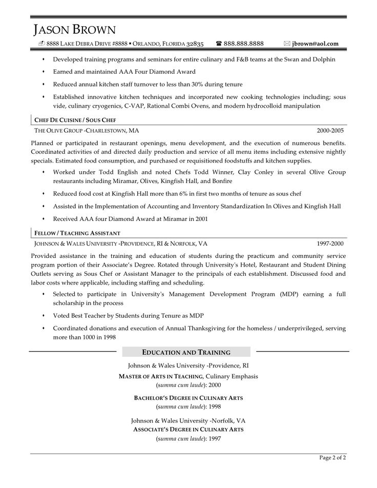 37 best resume images on Pinterest Chef resume, Resume help and - chef resume examples