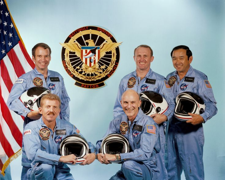 Since the conception of the Manned Spaceflight Engineer (MSE) program, the intent was to fly a dedicated officer aboard each classified flight. For Mission 51C, it would be Air Force Major Gary Payton (back left). The other NASA crew members were Loren Shriver (front left) and Ken Mattingly (front right), with Jim Buchli and Ellison Onizuka behind. Photo Credit: NASA