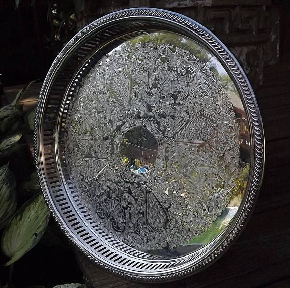 Silver Serving Tray Poole Silver Plate Tray Round Cocktail #wedding #formal #silver #bridal #tray