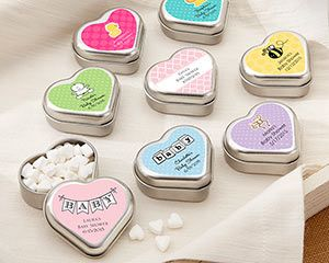 "Personalized ""Mint For You"" Brushed-Metal Heart-Shaped Mint Tin - Baby"