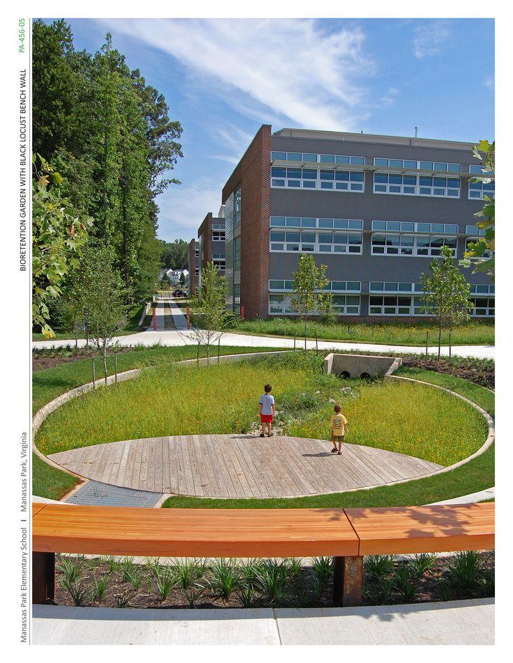 Manassas Park Elementary School • Siteworks, Charlottesville, VA •  2011 ASLA Professional Honor Award •   Bioretention Garden with Black Locust Bench Wall