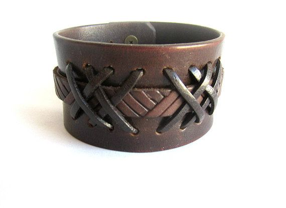 Mens brown leather cuff bracelet braided leather cuff mens