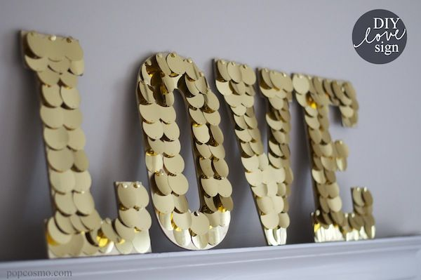 DIY gold love sign
