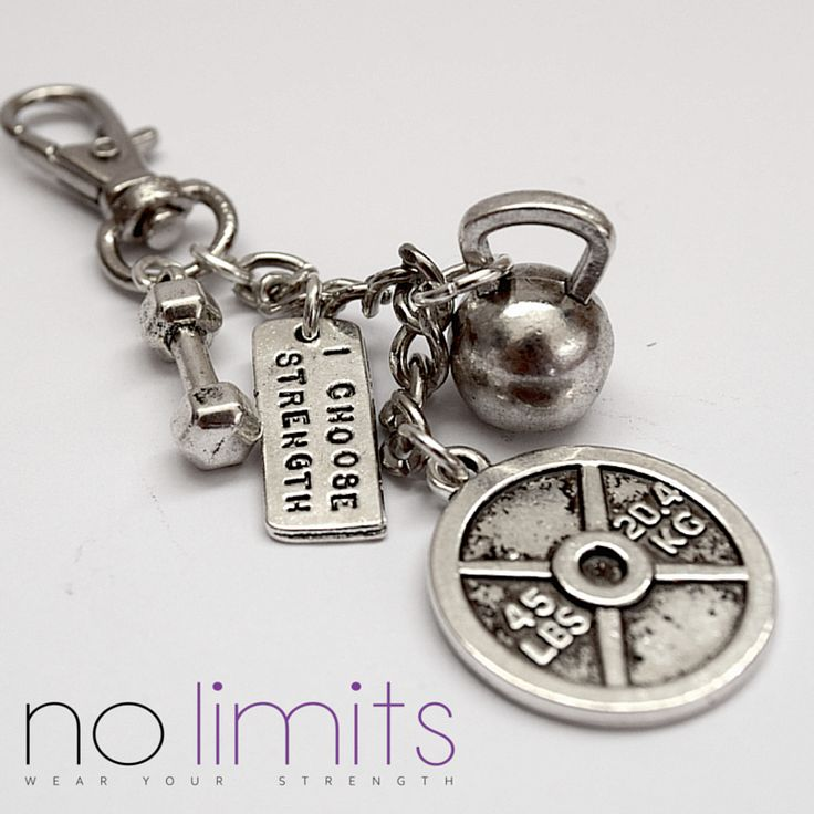 www.NoLimits.net.au Handmade fitness inspired jewellery. Keyring with dumbbell, weight plate, kettle bell and strength charms
