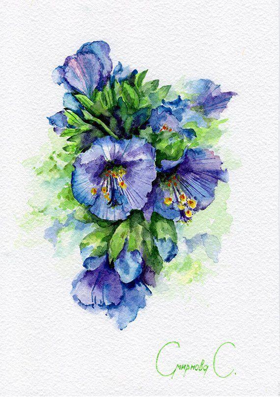 Flowers Green Blue Purple Bells Watercolor Original Painting