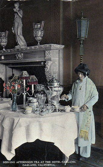 Serving Afternoon Tea at the Hotel Oakland, Calif. c. 1900