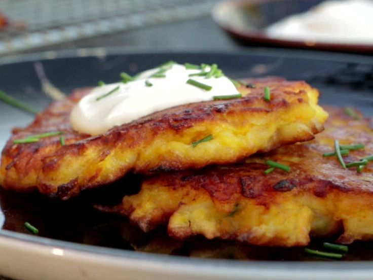 Sweet Potato-Chive Latkes from FoodNetwork.com Substitute witha GF flour and coconut oil instead of canola