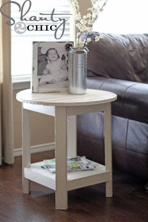 How to build Benchright Round End Tables on ana-white.com. We've got too many hard edges in the room - a round table end table could be a nice change.