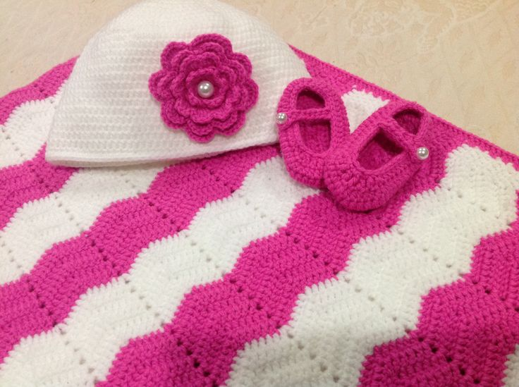 Crochet  cot blanket, Beanie with pink flower and Mary Jane  booties.