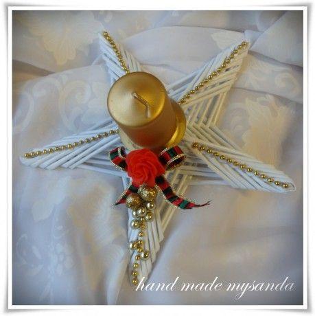vánoce-svícen hvězda červeno-zlatá
