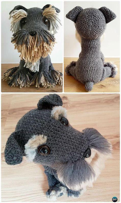 Crochet Amigurumi Dog Fur Free Pattern - Amigurumi Puppy Dog Stuffed Toy Patterns #Crochet;