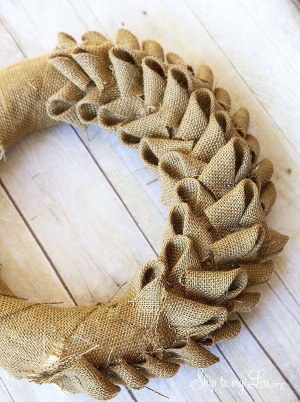 How to make an inexpensive burlap wreath- tutorial #make #wreath #howto skiptomylou.org