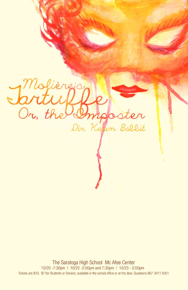 Poster design in photoshop 7 - Publicity Poster For A Production Of Tartuffe Watercolor Collage Acrylic Adobe