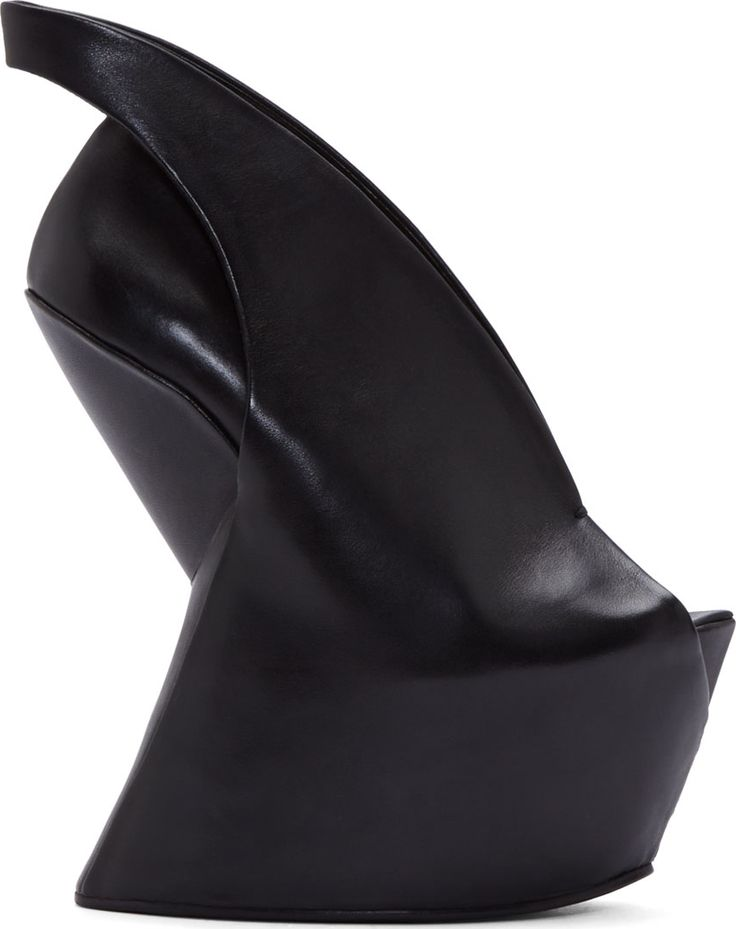 Iris van Herpen: Black Leather Sculptural United Nude Edition Wedge Heel    SSENSE