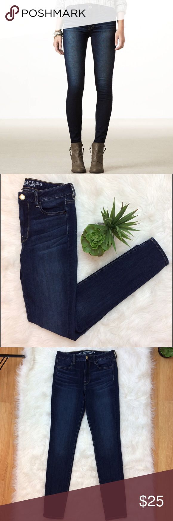"""American Eagle Hi-Rise Jegging American Eagle Hi- rise jegging. 360 super stretch. 71% cotton • 14% viscose • 11% polyester • 4% elastane. Size 8long. Waist is 14.5"""" across. 6.5"""" rise. 29 3/4"""" Inseam. American Eagle Outfitters Jeans Skinny"""
