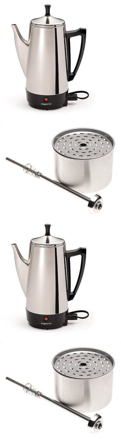 Small Kitchen Appliances: Percolator Stainless Steel Coffee Maker 12 Cup Automatic Electric Vintage Perk BUY IT NOW ONLY: $48.42