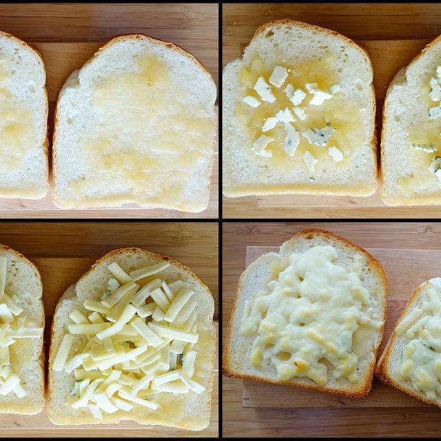 実家からもらったリンゴジャム(どちらかというとピューレ)、ブルーチーズ、ピザ用チーズ、塩少々ふりかけてリンゴとブルーチーズのチーズトースト作成😎 #meallog #food #foodporn #tw #👓作