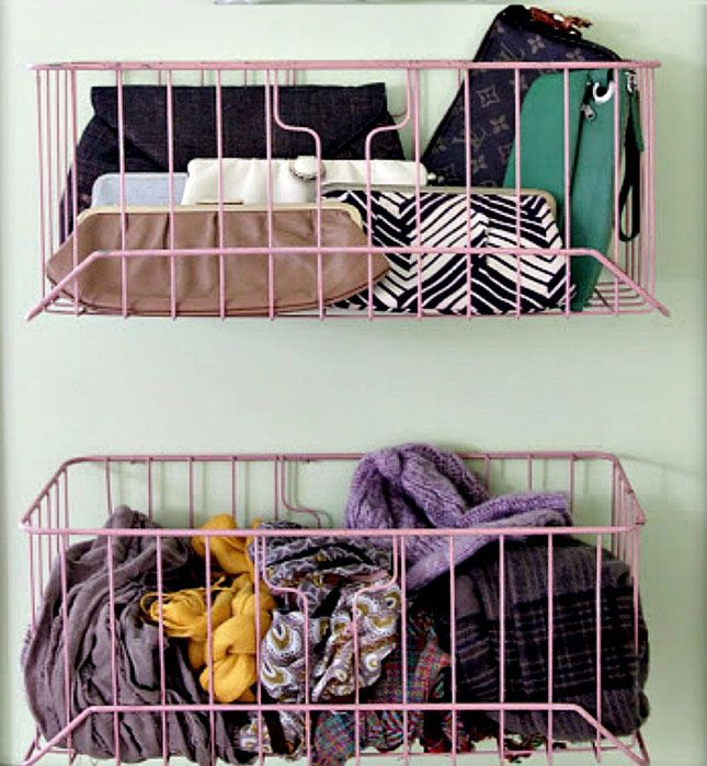 Hang up these lightweight baskets inside your closet to serve as a catchall for those odds and ends.