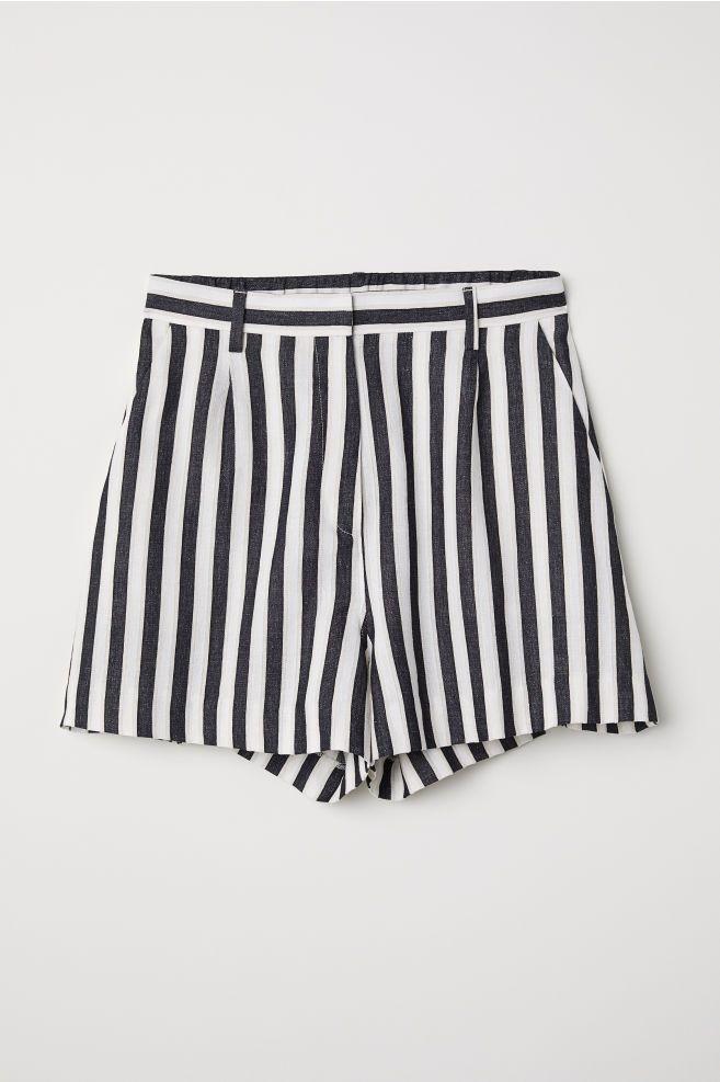 7b8f0be800 Pantalón corto de rayas - Blanco Rayas negras - MUJER