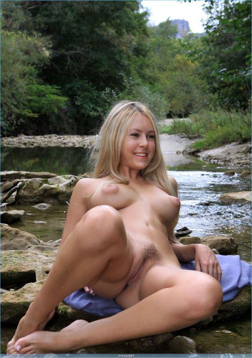 Topless girl outside #3