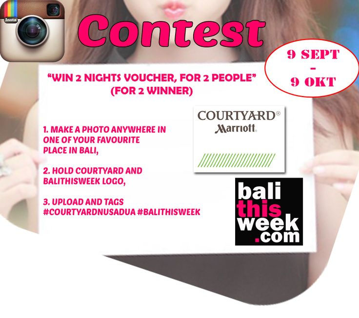 Balithisweek instagram Contest  We're giving away 2 voucher, Each voucher for 2 people, Every pic is an entry, Play as often as you like, Dont miss this rare chance. #courtyard #courtyardnusadua #guide #instacontest #balithisweek