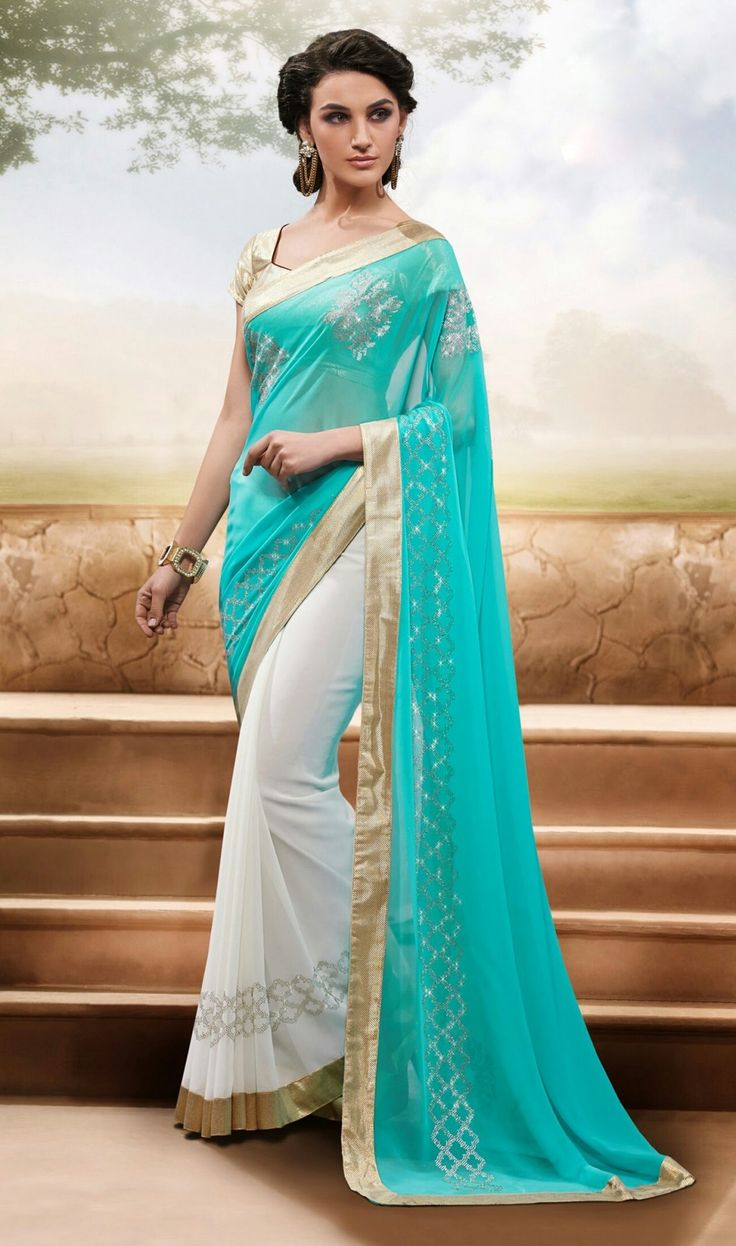 New Sky Blue And White Chiffon Designer Casual Saree  @