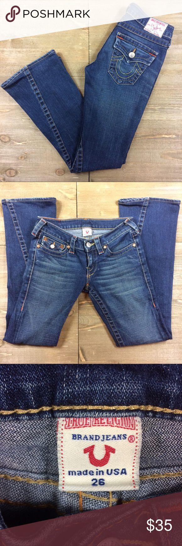 True Religion Jeans Size 26 dark wash True Religion jeans. Button closure on the back pockets. True Religion Jeans Flare & Wide Leg