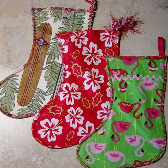 Tropical holiday christmas stocking in surf board red
