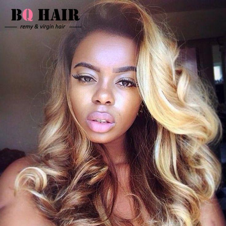 BQ Hair 8A Peruvian Virgin Hair Body Wave Ombre Weave #1B-613 Blonde 360 Frontal Pelucas Lace Frontal 360