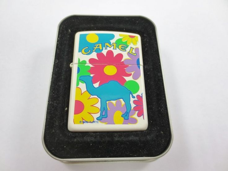 ZIPPO USA CAMEL Cigarette Lighter New Old Stock w Case 1996 FLOWER RETRO G XII