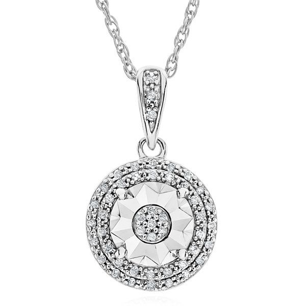 Limited Time Special 1 10 Ct T W Double Halo Diamond Pendant Necklace In Sterling Silv Diamond Pendant Necklace Double Halo Diamond Sterling Silver Pendants