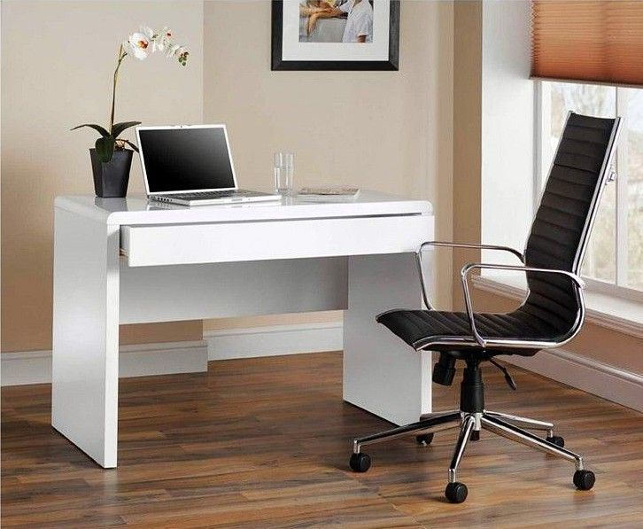 High Gloss Modern White Desk Drawer Table Working Station Laptop