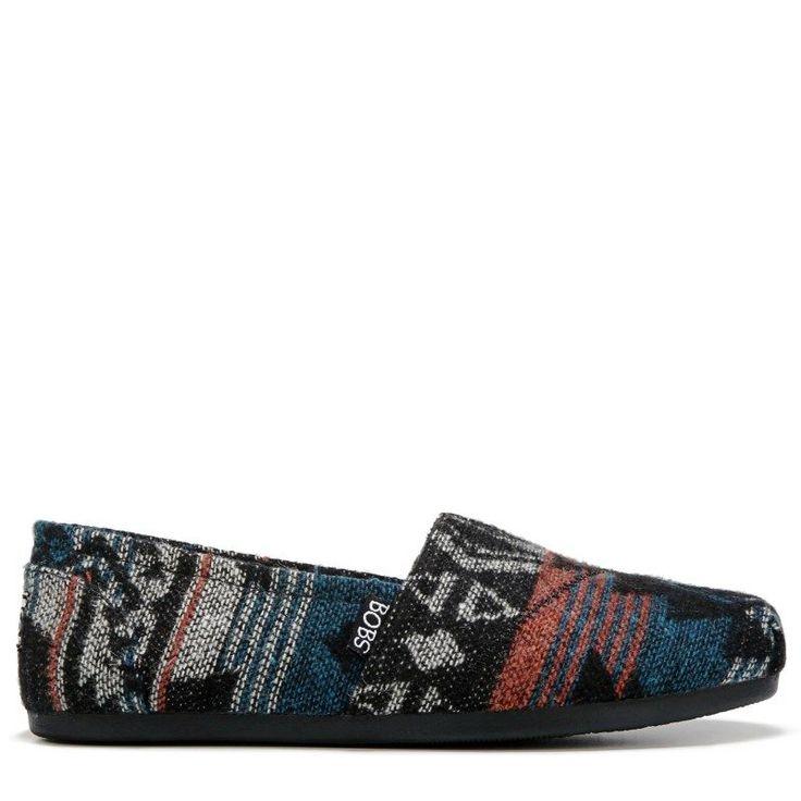 Skechers Women's Bobs Plush Slip On Shoes (Black Print Wool)