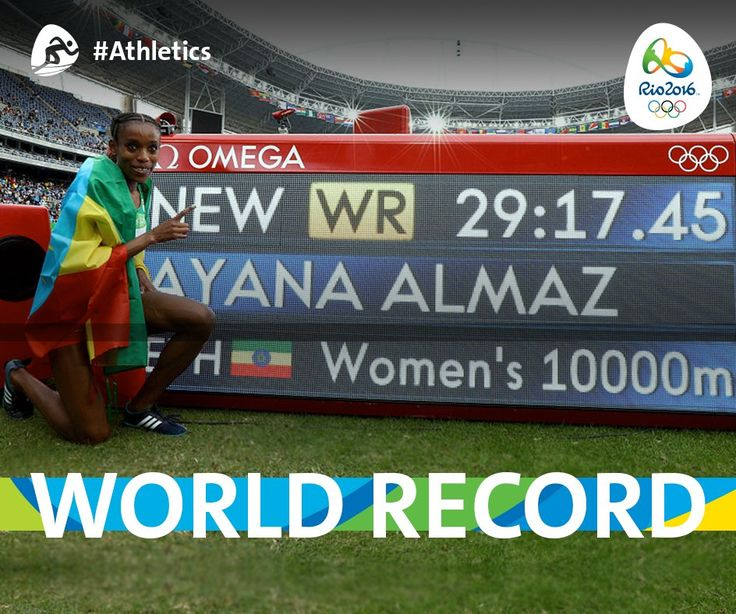 #ETH's Almaz Ayana wins a #Gold and breaks the 10k world record with a 29:17.45