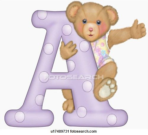 The capital letter A with teddy bear