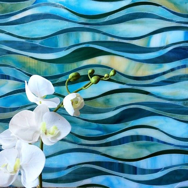 Blue Green Teal And Yellow Wave Glass Tile Mosaic