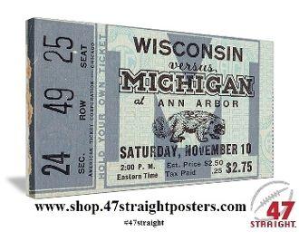 Michigan Wolverines football art. Michigan football ticket stub art.  #47straight #row1 #collegefootball #art #Michigan #Wolverines