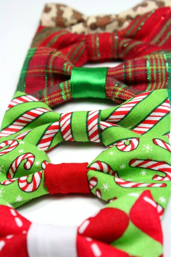 Dog Cat Bow Tie Bowtie Christmas Holiday Red Green Tartan Candy Canes Removable