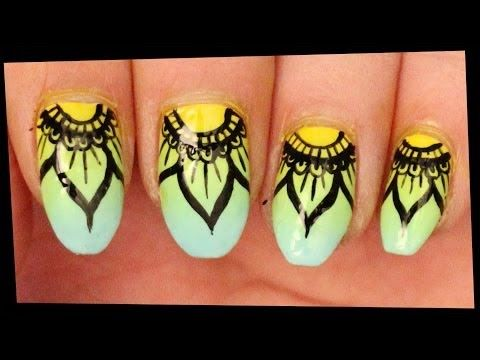 Mandala Inspired nail art - YouTube