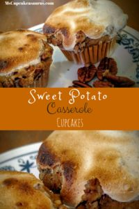 Sweet Potato Casserole Cupcakes with Marshmallow topping Favorite Autumn flavor recipes Thanksgiving Sweet Potato cupcake recipe