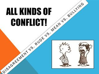 School counseling lesson plan teaching the different types of conflict: disagreement vs. rude moment vs. mean moment vs. bullying