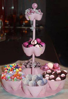 buena idea para realizar centros o estaciones de dulces para una fiesta infantil, despedidas, y otras celebraciones.