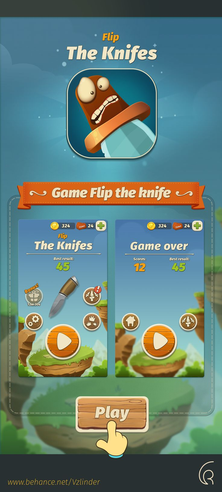 "Check out this @Behance project: ""Game UI Art ""Flip The Knife""."" https://www.behance.net/gallery/52947255/Game-UI-Art-Flip-The-Knife"