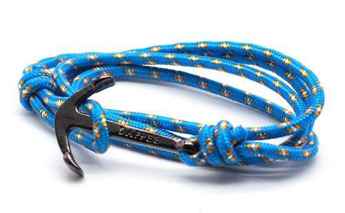 men's sky blue rope bracelet with black anchor - The Art