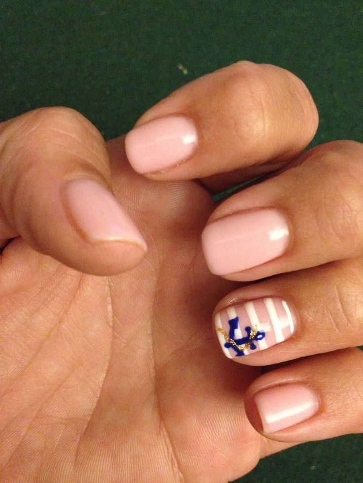 Anchor nails with stripes-opi I theo Dora you
