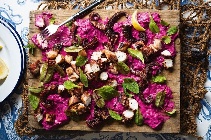 Charred octopus with beetroot tzatziki