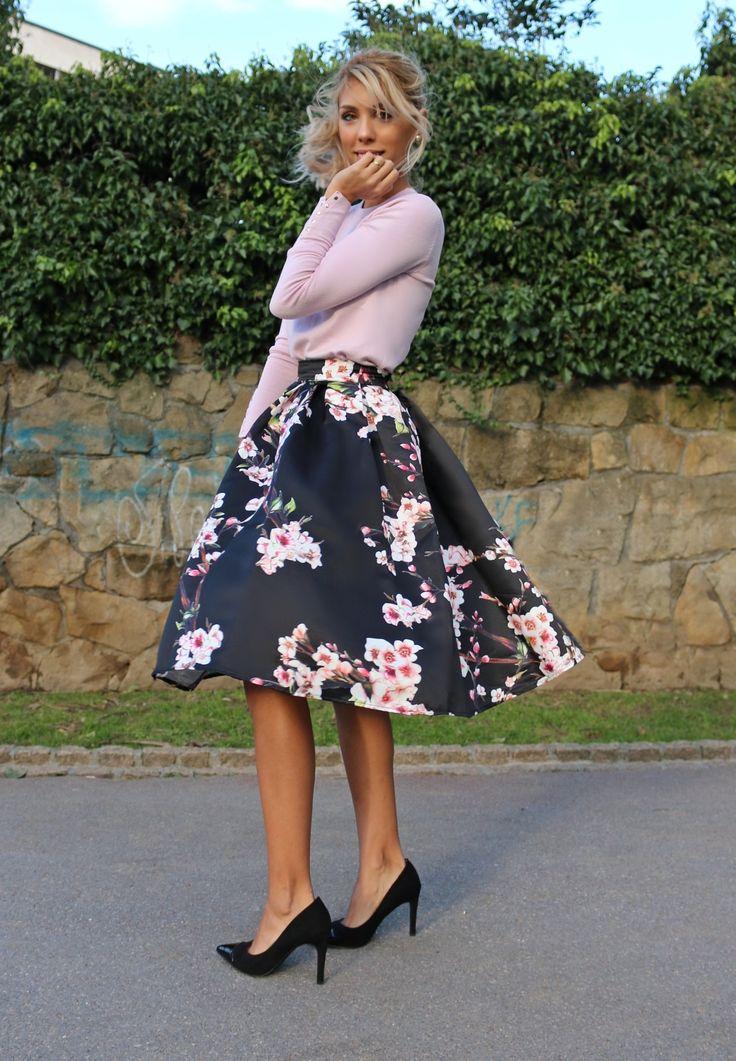 floral midi, pink top