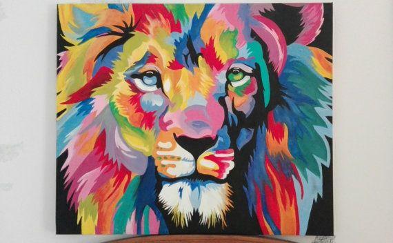 Cuadro tigre pop art en colores pintado a mano al óleo por artemmik