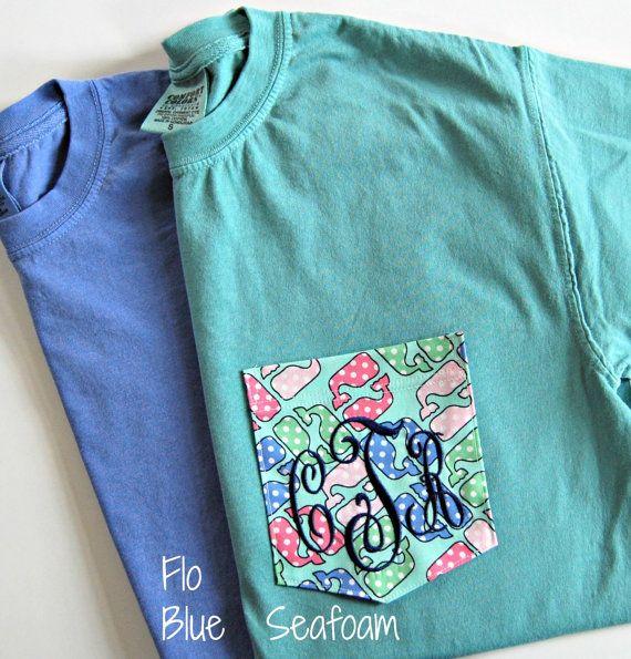 Polka Dot Whale Fabric Monogrammed Vineyard Vines Fabric Pocket T Shirt on Etsy, $29.00