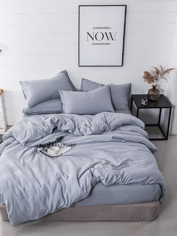 Simple Plain Sheet Set Shein Sheinside Simple Bedroom Simple Bed Home Decor Bedroom